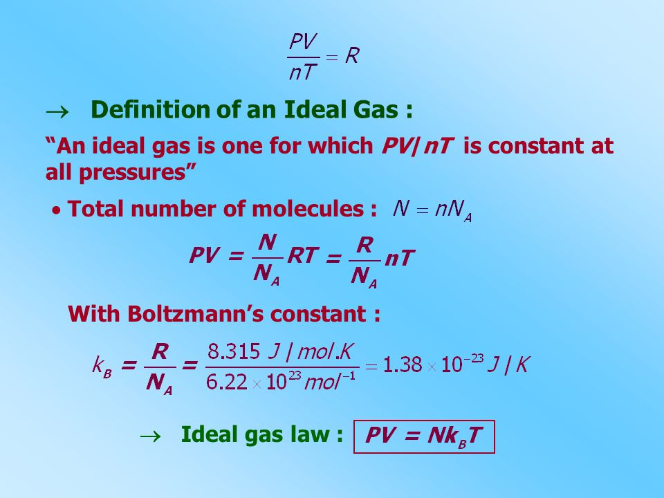  Definition of an Ideal Gas : An ideal gas is one for which PV/nT is constant at all pressures  Total number of molecules : With Boltzmann's constant :  Ideal gas law :