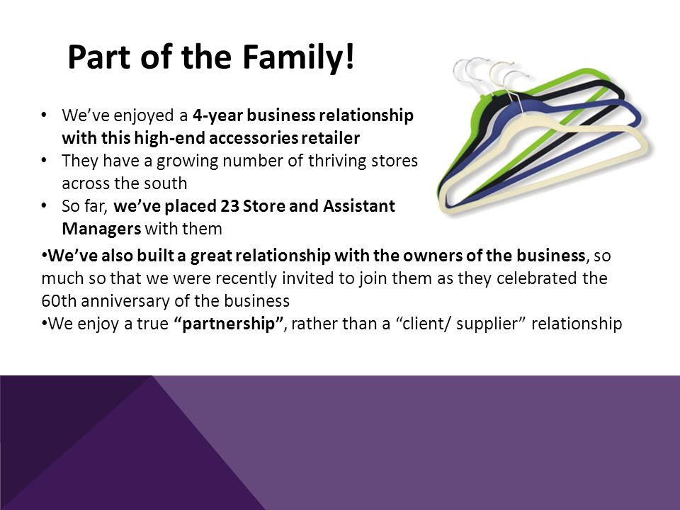 We've worked with this group of companies for a number of years and have seen them grow through both acquisition and the creation of a new retail brand Roles we've worked on across the group have been hugely diverse and have included Buyers, E-Commerce Director, HR Assistant, Supply Chain Manager, Marketing Manager, Head of IT, Merchandisers, Recruitment Manager, Project Manager, Systems Engineer, SEO Manager, Allocators, Database Administrator and Garment Technologist – as well as numerous store staff This demonstrates that once we fully understand the culture of a brand we can source the right candidates at every level and within every discipline You name it, we'll find it!