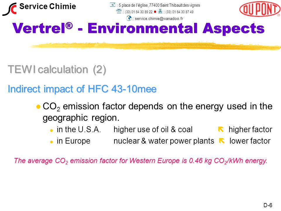 Vertrel ® - Environmental Aspects TEWI calculation (2) Indirect impact of HFC 43-10mee l l CO 2 emission factor depends on the energy used in the geographic region.