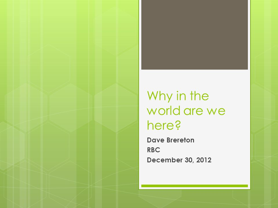 Why in the world are we here Dave Brereton RBC December 30, 2012