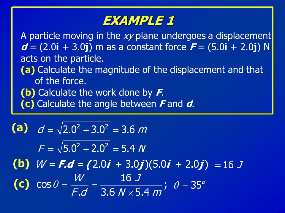 EXAMPLE 1 (a) A particle moving in the xy plane undergoes a displacement d = (2.0i + 3.0j) m as a constant force F = (5.0i + 2.0j) N acts on the parti