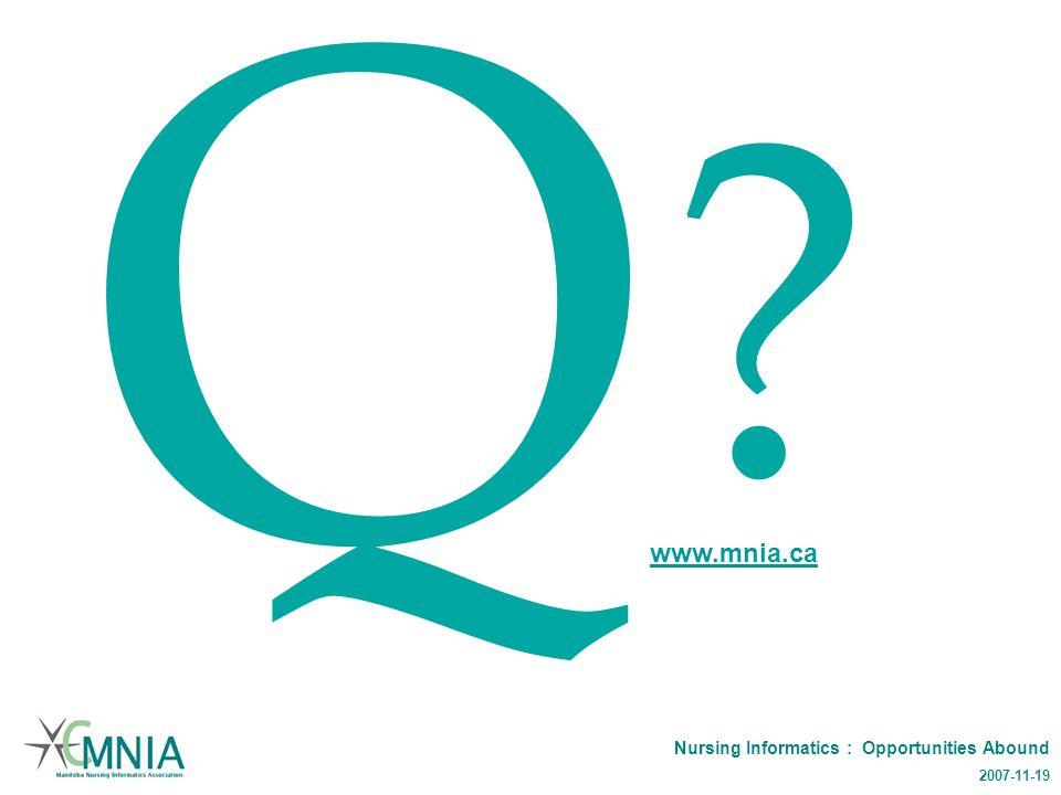 Nursing Informatics : Opportunities Abound 2007-11-19 Q www.mnia.ca
