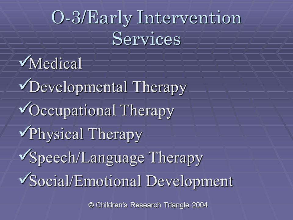 © Children's Research Triangle 2004 O-3/Early Intervention Services Medical Medical Developmental Therapy Developmental Therapy Occupational Therapy Occupational Therapy Physical Therapy Physical Therapy Speech/Language Therapy Speech/Language Therapy Social/Emotional Development Social/Emotional Development