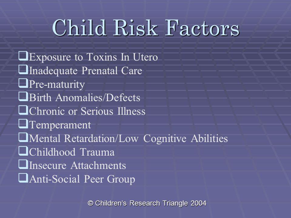© Children's Research Triangle 2004 Child Risk Factors   Exposure to Toxins In Utero   Inadequate Prenatal Care   Pre-maturity   Birth Anomali