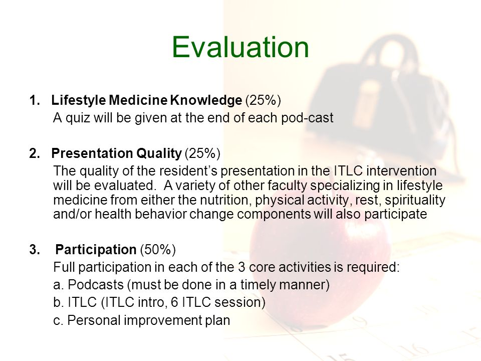 Evaluation 1. Lifestyle Medicine Knowledge (25%) A quiz will be given at the end of each pod-cast 2. Presentation Quality (25%) The quality of the res