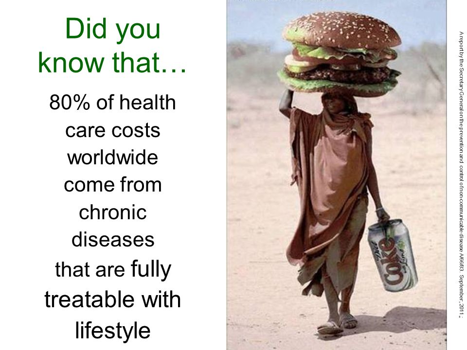 80% of health care costs worldwide come from chronic diseases that are fully treatable with lifestyle Did you know that… A report by the Secretary General on the prevention and control of non-communicable disease A/66/83.