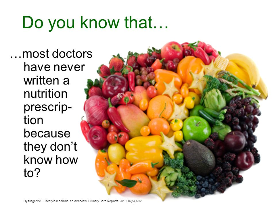 Do you know that… …most doctors have never written a nutrition prescrip- tion because they don't know how to.