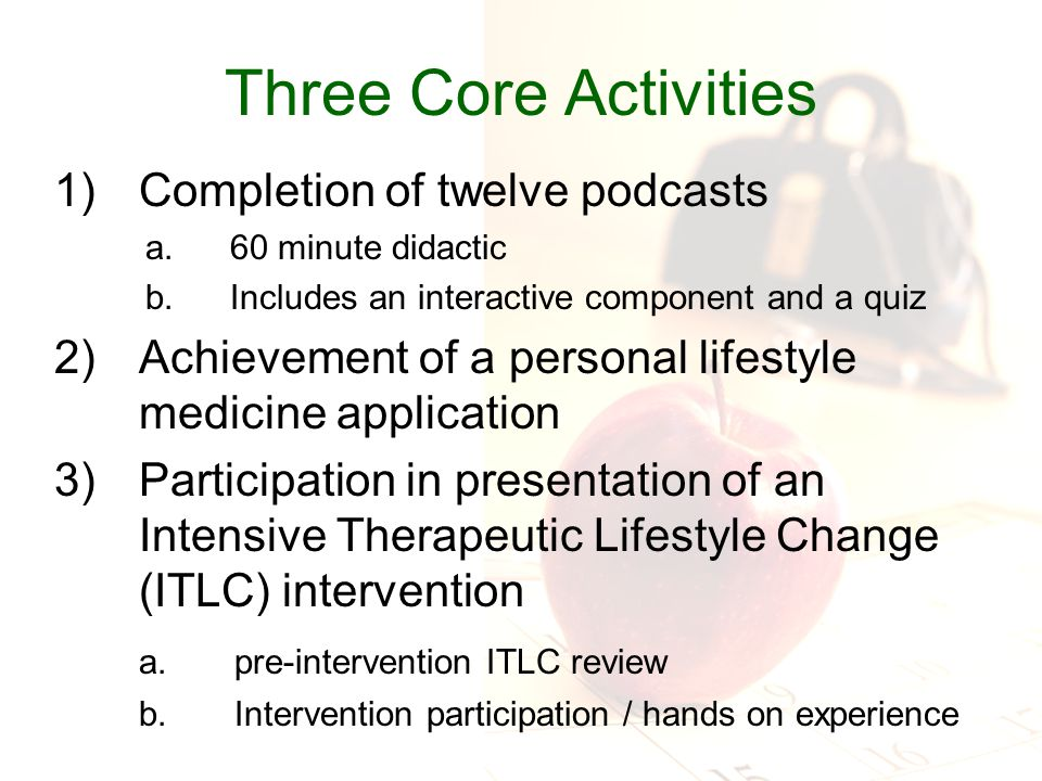 JAMA, July 14, 2010 Podcasts based on the JAMA Lifestyle Medicine competencies.