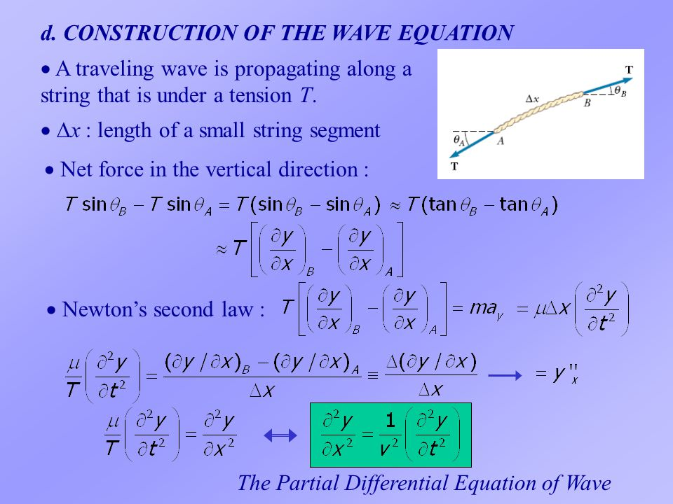 d. CONSTRUCTION OF THE WAVE EQUATION  x x : length of a small string segment  A traveling wave is propagating along a string that is under a tensi