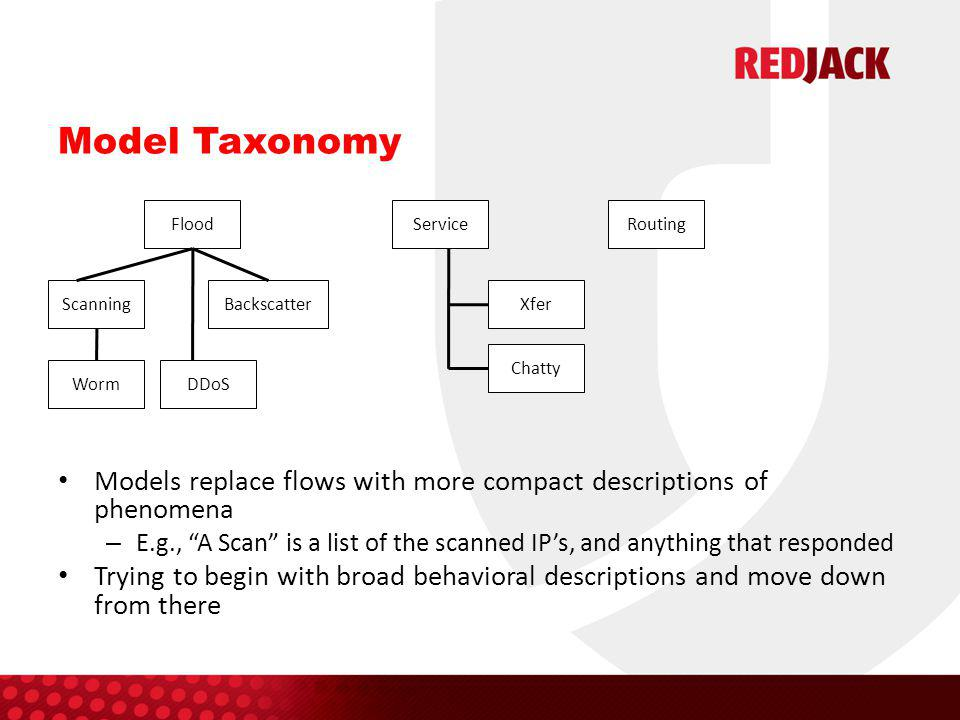 Model Taxonomy Models replace flows with more compact descriptions of phenomena – E.g., A Scan is a list of the scanned IP's, and anything that responded Trying to begin with broad behavioral descriptions and move down from there Flood ServiceRouting ScanningBackscatter Worm DDoS Xfer Chatty