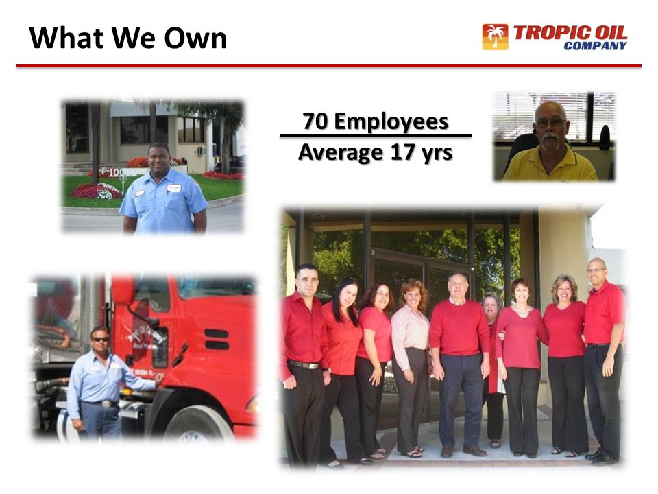 What We Own 70 Employees Average 17 yrs