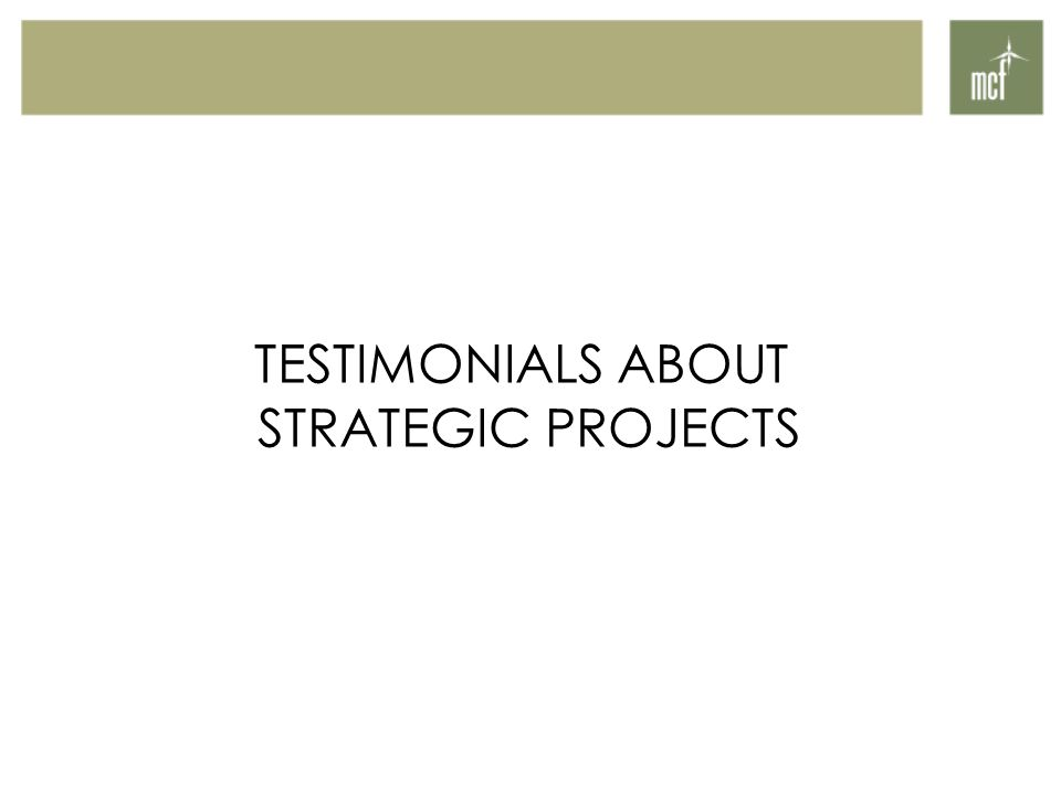 TESTIMONIALS ABOUT STRATEGIC PROJECTS