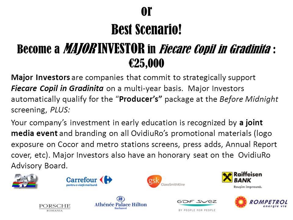 or Best Scenario! Become a MAJOR INVESTOR in Fiecare Copil in Gradinita : €25,000 Major Investors are companies that commit to strategically support F