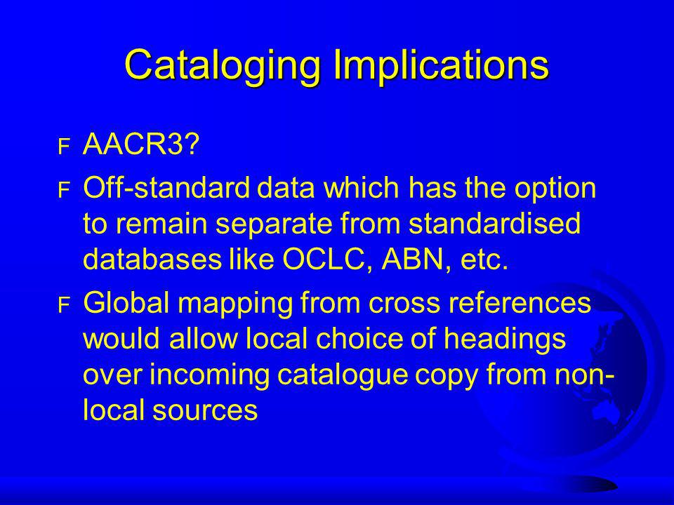 Cataloging Implications F AACR3.