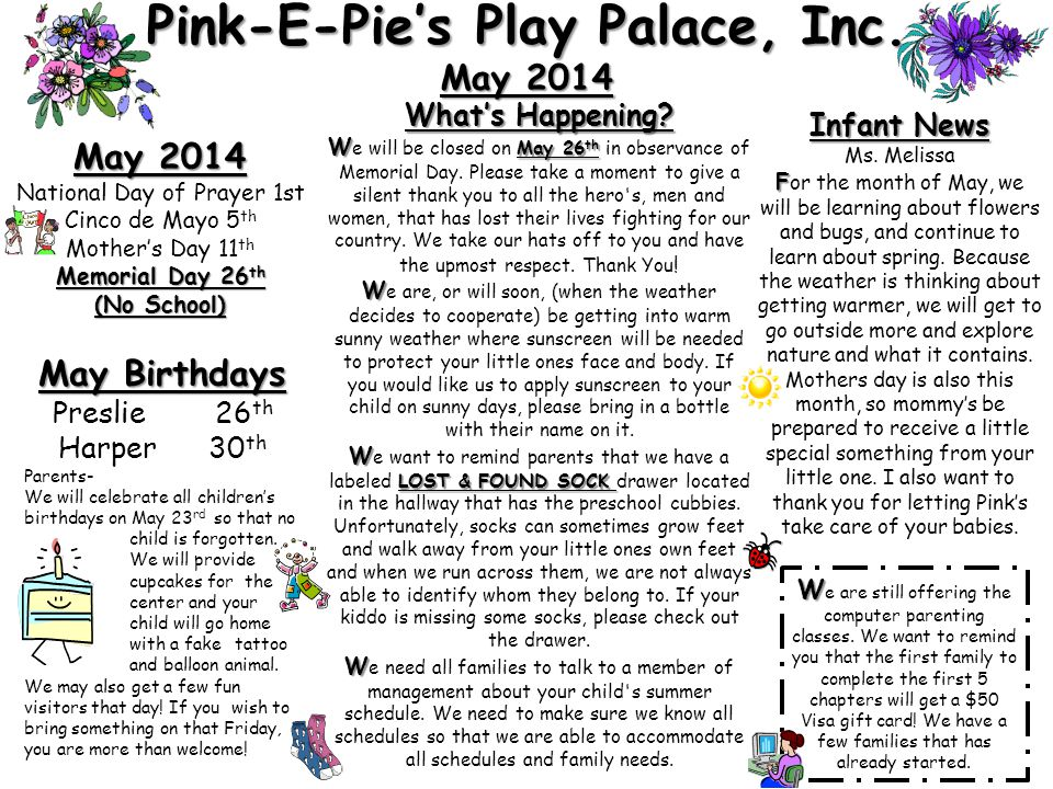 Pink-E-Pie's Play Palace, Inc. May 2014 Infant News Ms.
