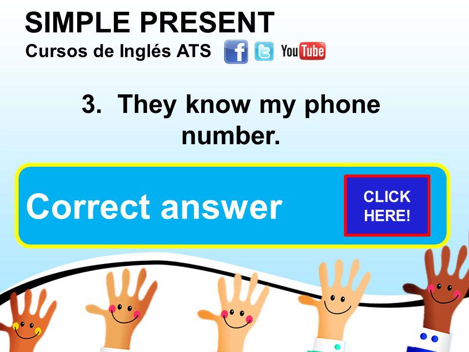 SIMPLE PRESENT Cursos de Inglés ATS Cursos de Inglés ATS Cursos de Inglés ATS Cursos de Inglés ATS 3.