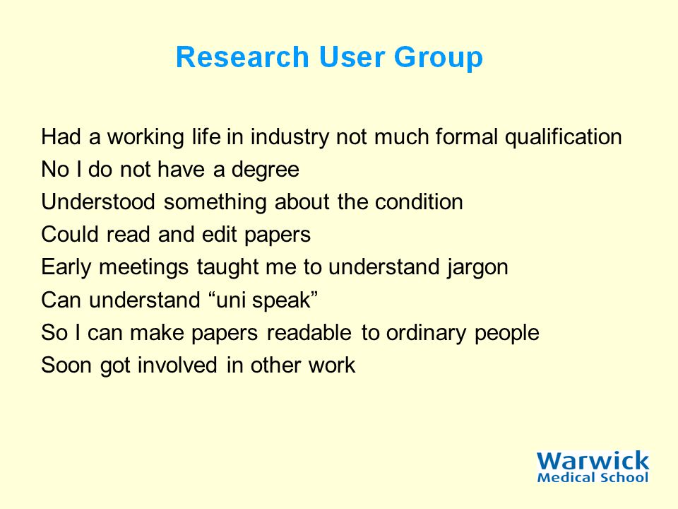 Getting a group going Address the why and what first Set out terms of reference Where and when to meet What sort of work is wanted Involve all members Sort out payments – beware other payments might be affected such as pensions, tax rebates and the like But most of all have FUN