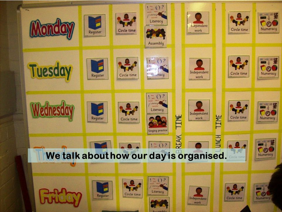 We talk about how our day is organised.