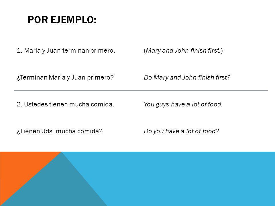 POR EJEMPLO: 1. Maria y Juan terminan primero.(Mary and John finish first.) ¿Terminan Maria y Juan primero?Do Mary and John finish first? 2. Ustedes t