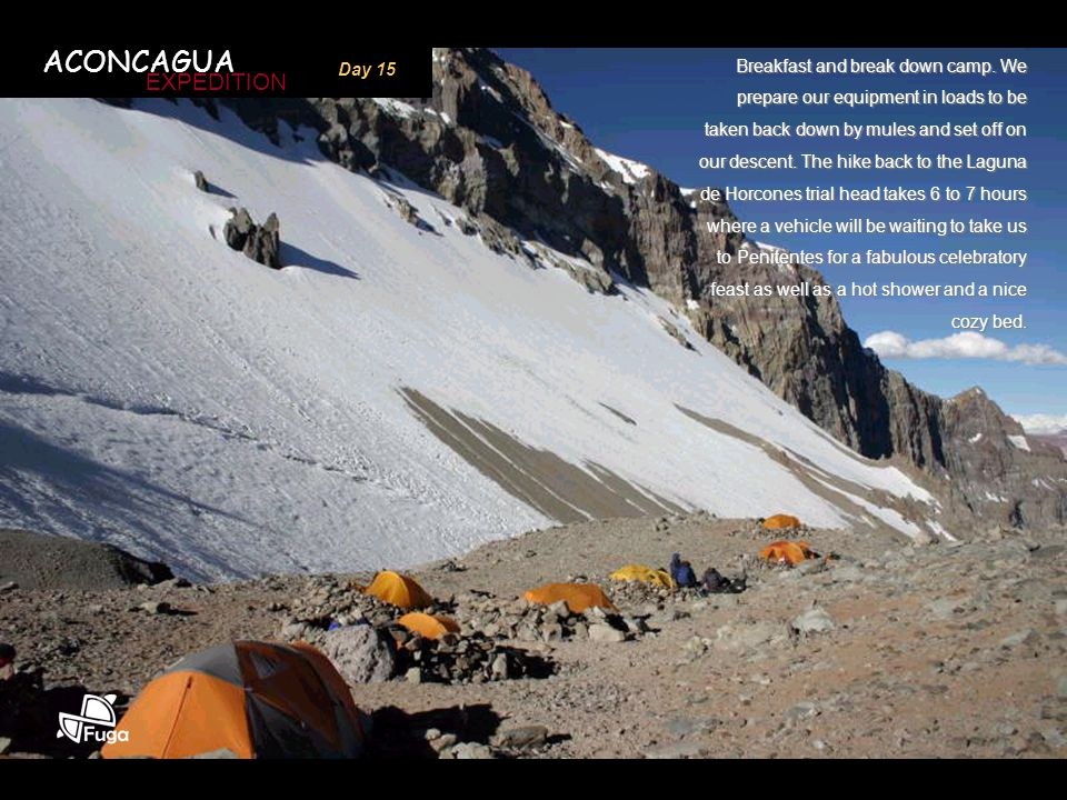 ACONCAGUA EXPEDITION Day 15 Breakfast and break down camp. We prepare our equipment in loads to be taken back down by mules and set off on our descent