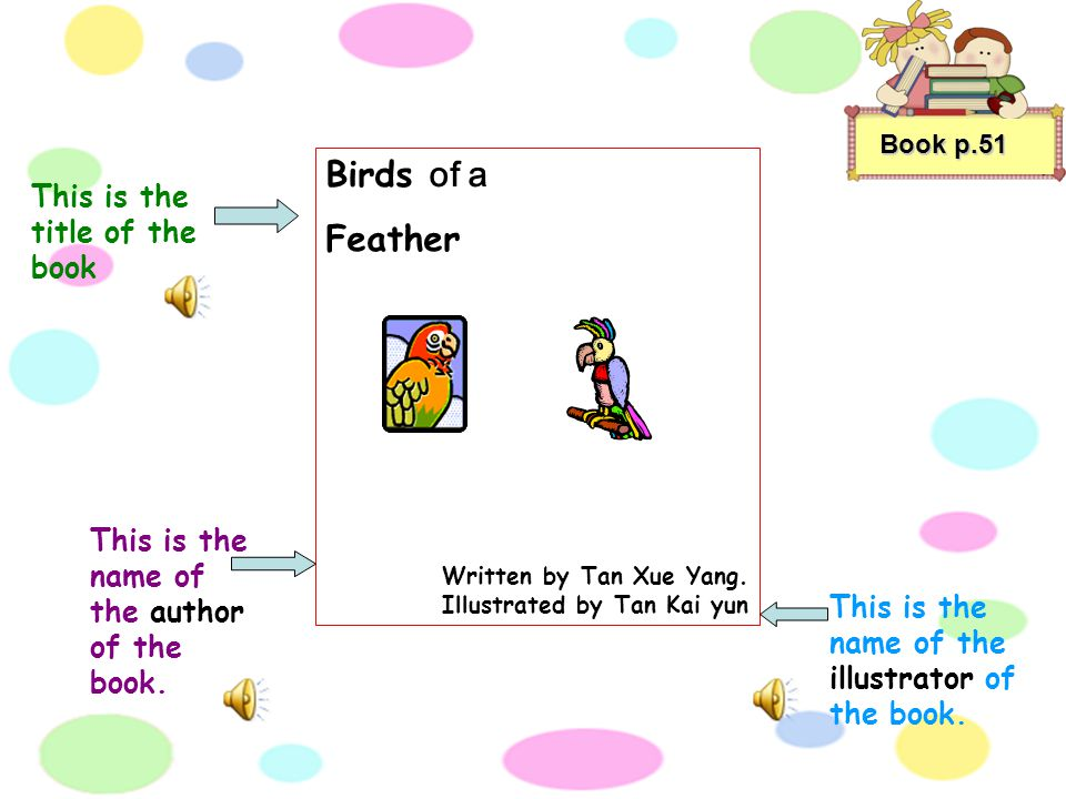 "Book p.51 ""Look Ricky! ''said jessy. ''This is my favourite book."" ''The title of my favourite book is Birds of a Feather. It is written by Tan Xue Ya"