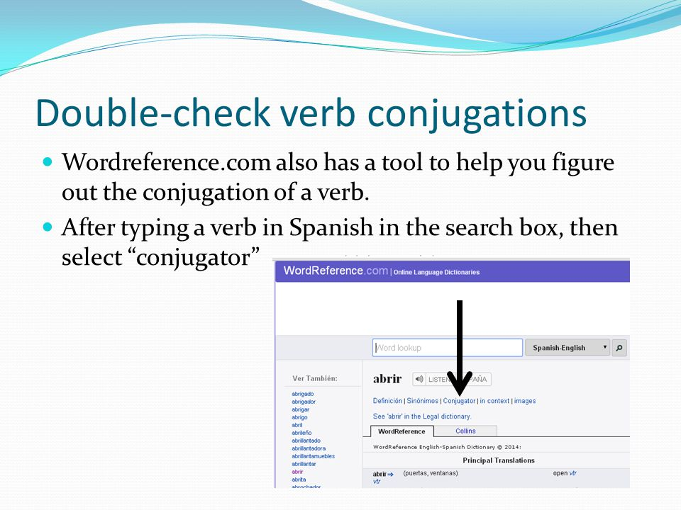 Double-check verb conjugations Wordreference.com also has a tool to help you figure out the conjugation of a verb.