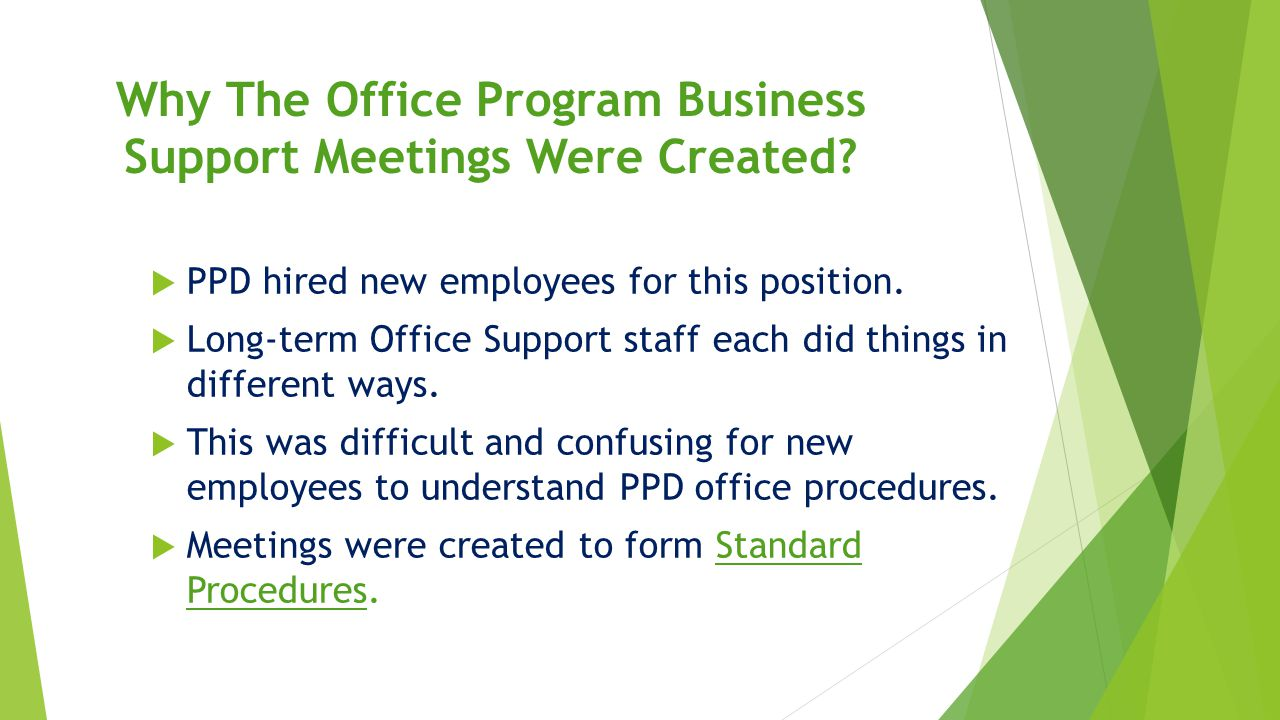 Office Program Business Support Physical Plant Department