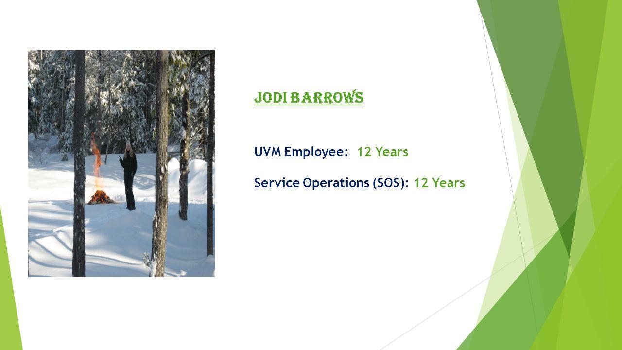 Jane Raftery UVM Employee: 14 Years Material Management (MMW): 8 Years