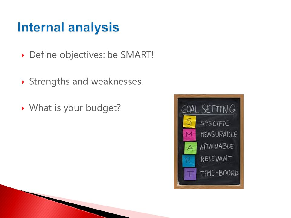  Define objectives: be SMART!  Strengths and weaknesses  What is your budget