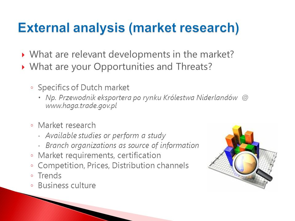  What are relevant developments in the market.  What are your Opportunities and Threats.