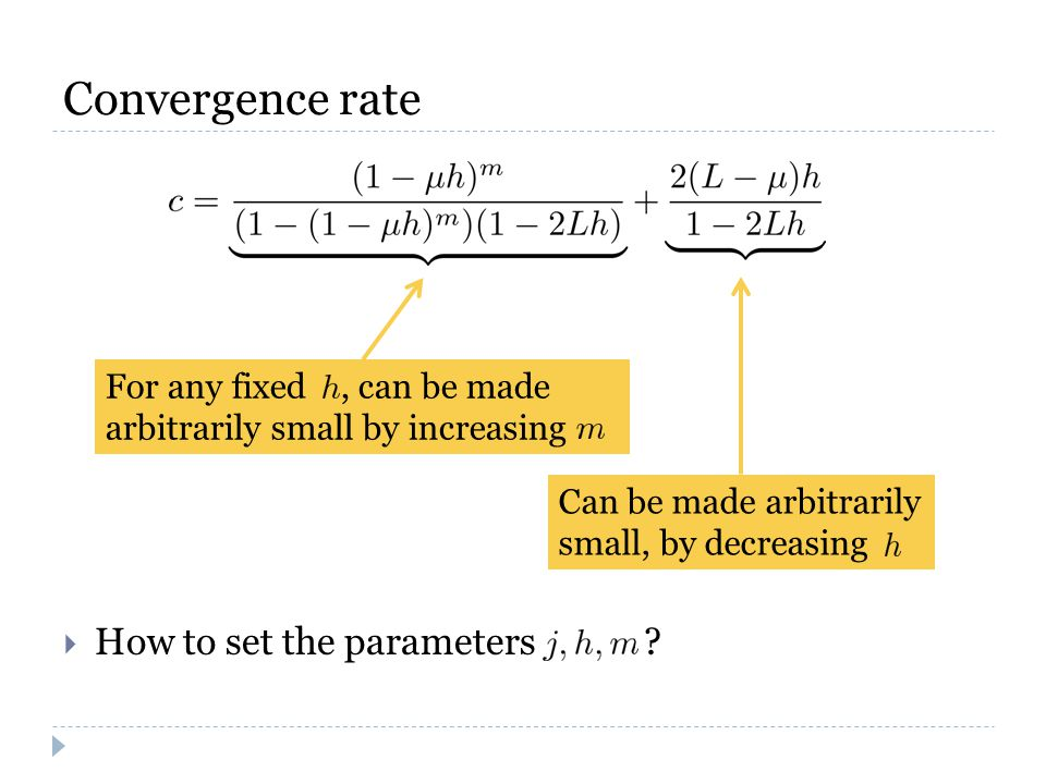 Convergence rate  How to set the parameters .