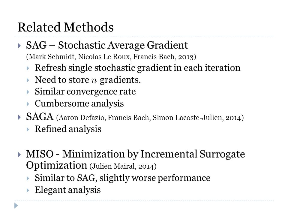 Related Methods  SAG – Stochastic Average Gradient (Mark Schmidt, Nicolas Le Roux, Francis Bach, 2013)  Refresh single stochastic gradient in each iteration  Need to store gradients.