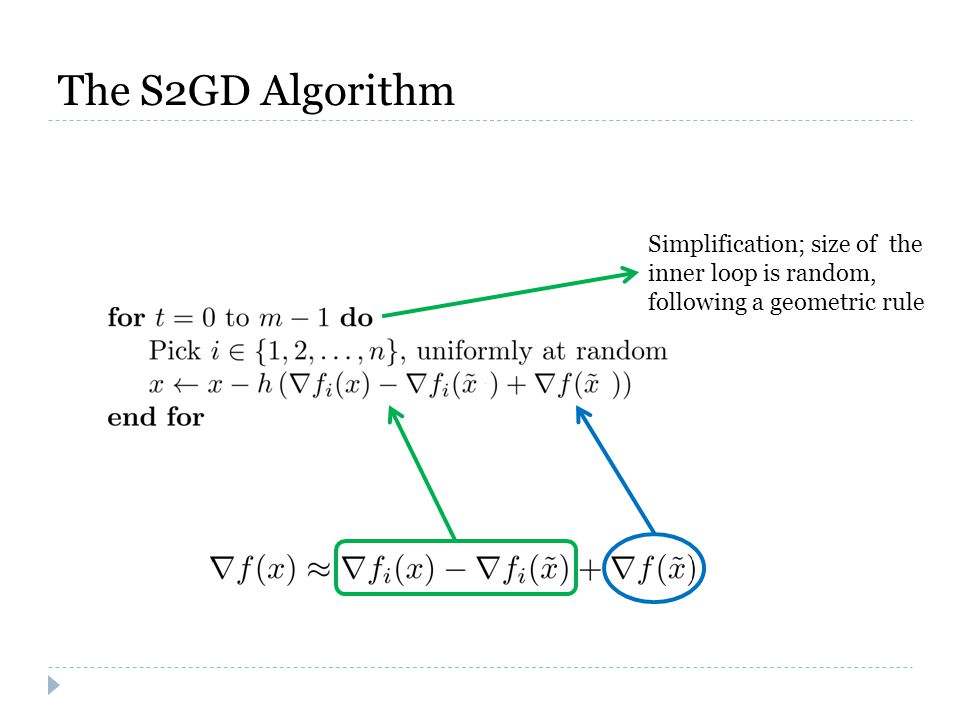 The S2GD Algorithm Simplification; size of the inner loop is random, following a geometric rule
