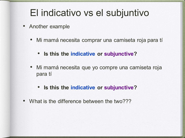 El indicativo vs el subjuntivo Another example Mi mamá necesita comprar una camiseta roja para tí Is this the indicative or subjunctive.