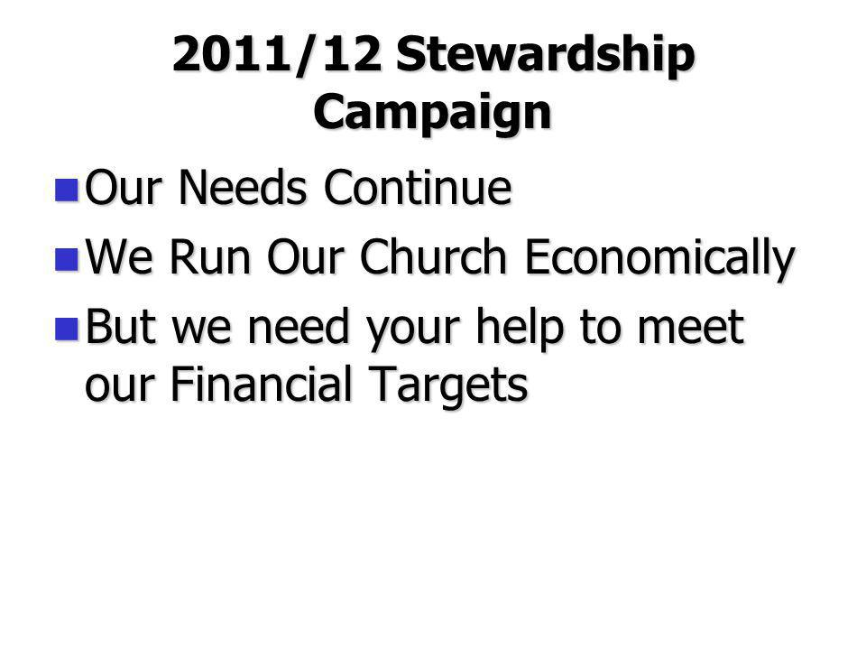 2011/12 Stewardship Campaign Our Needs Continue Our Needs Continue We Run Our Church Economically We Run Our Church Economically But we need your help to meet our Financial Targets But we need your help to meet our Financial Targets