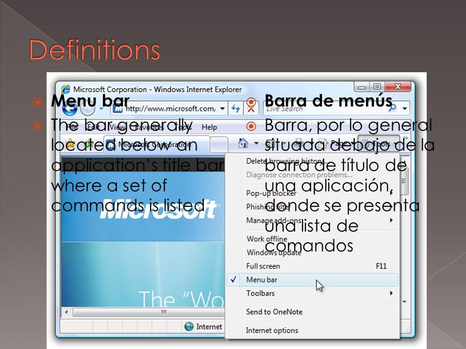  Title bar  The top row of an application window where the program name (and often the name of the document) is shown  Barra de título  Fila superior de una ventana de aplicación, donde se muestra el nombre del programa y, en muchos casos, el nombre del documento
