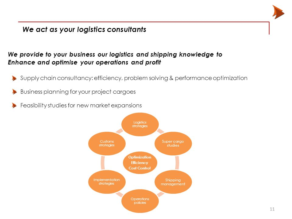 We act as your logistics consultants 11 We provide to your business our logistics and shipping knowledge to Enhance and optimise your operations and profit Supply chain consultancy: efficiency, problem solving & performance optimization Business planning for your project cargoes Feasibility studies for new market expansions Optimization Efficiency Cost Control Logistics strategies Super cargo studies Shipping management Operations policies Implementation strategies Customs strategies
