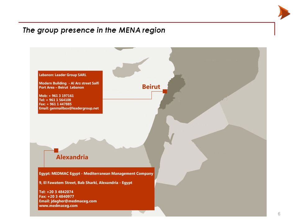 6 The group presence in the MENA region
