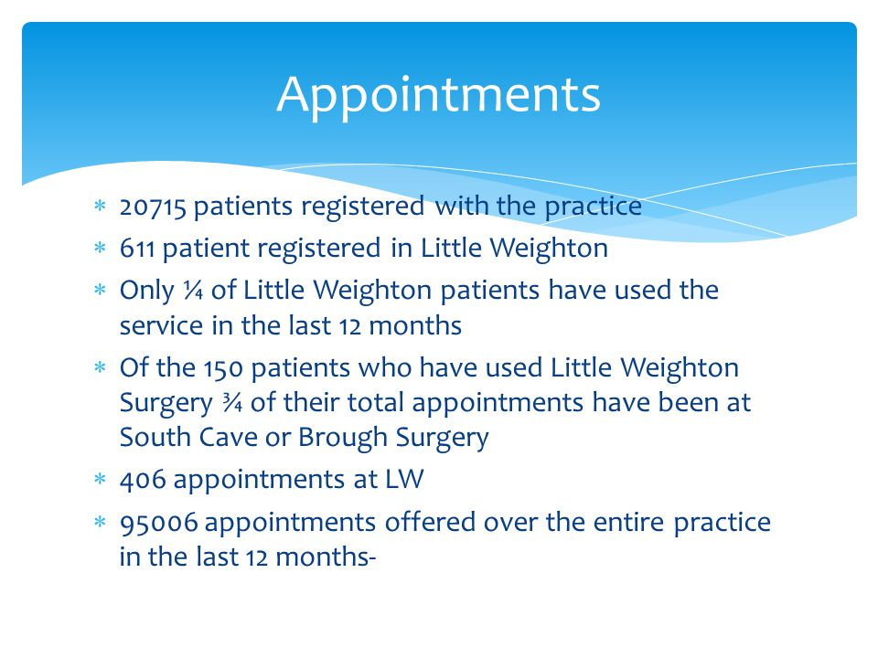  20715 patients registered with the practice  611 patient registered in Little Weighton  Only ¼ of Little Weighton patients have used the service in the last 12 months  Of the 150 patients who have used Little Weighton Surgery ¾ of their total appointments have been at South Cave or Brough Surgery  406 appointments at LW  95006 appointments offered over the entire practice in the last 12 months- Appointments