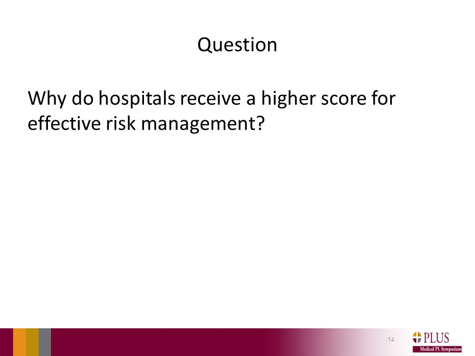 Question Why do hospitals receive a higher score for effective risk management? 14
