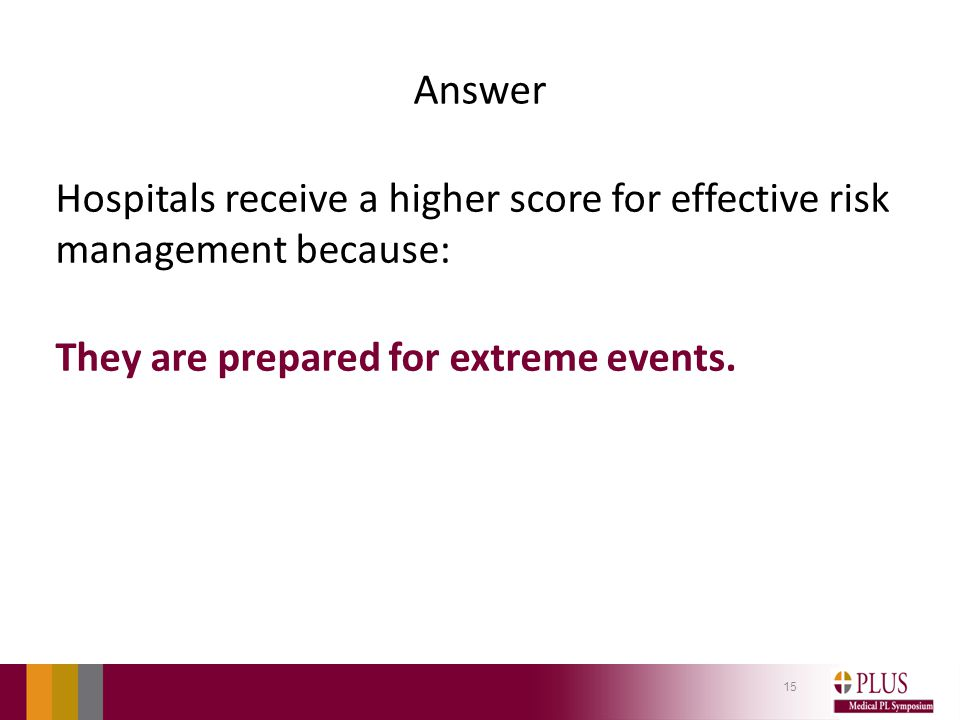 Answer Hospitals receive a higher score for effective risk management because: They are prepared for extreme events.