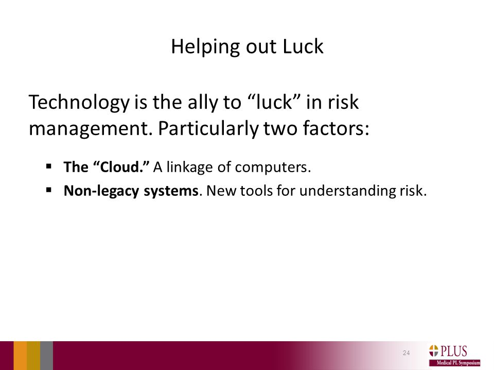 Helping out Luck Technology is the ally to luck in risk management.