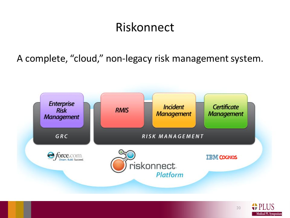 Riskonnect A complete, cloud, non-legacy risk management system. 30