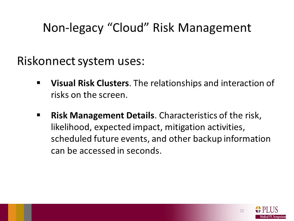 Non-legacy Cloud Risk Management Riskonnect system uses:  Visual Risk Clusters.