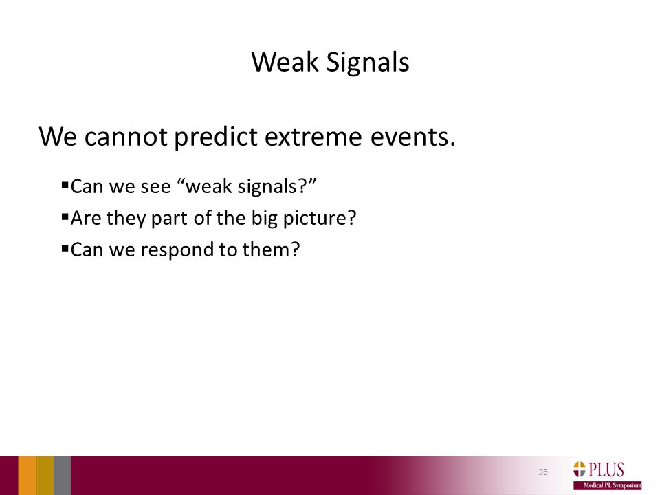 Weak Signals We cannot predict extreme events.