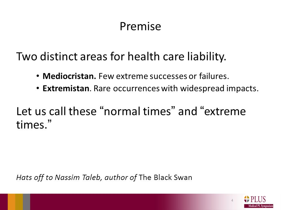 Premise Two distinct areas for health care liability.