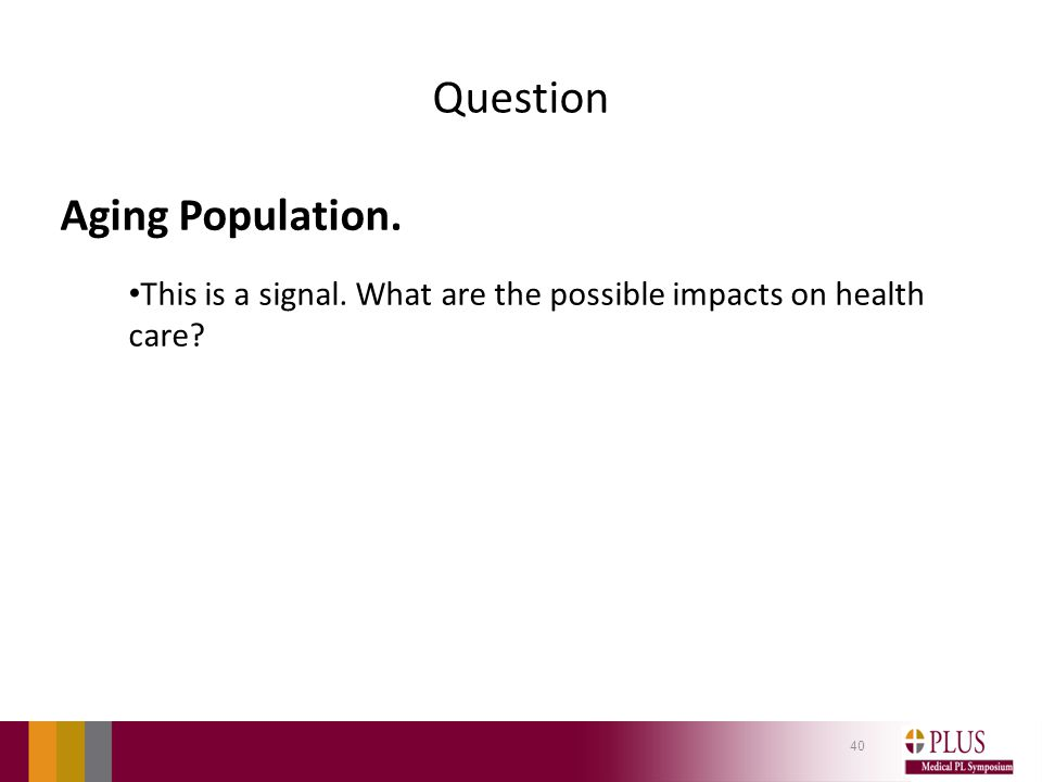 Question Aging Population. This is a signal. What are the possible impacts on health care? 40