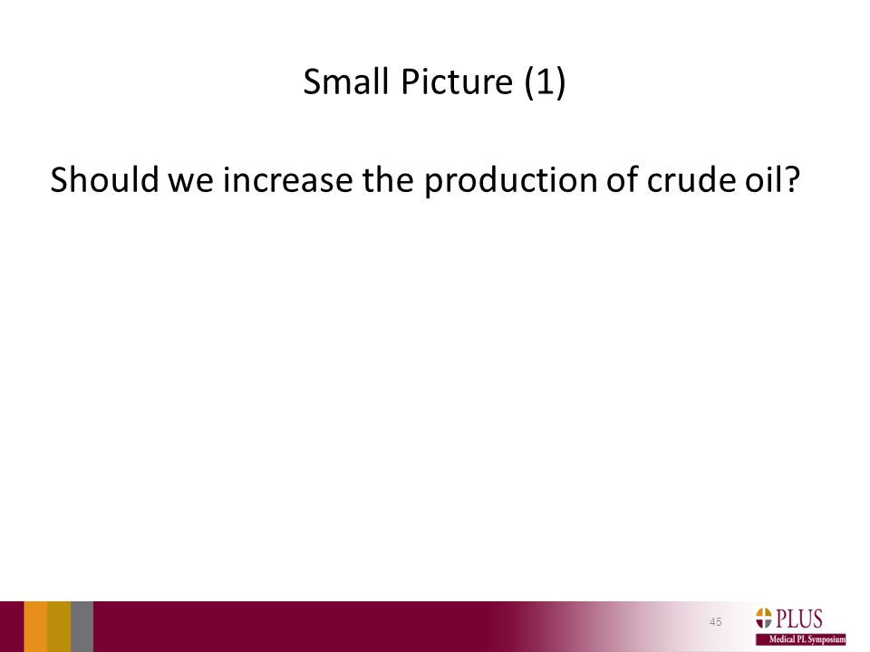 Small Picture (1) Should we increase the production of crude oil? 45