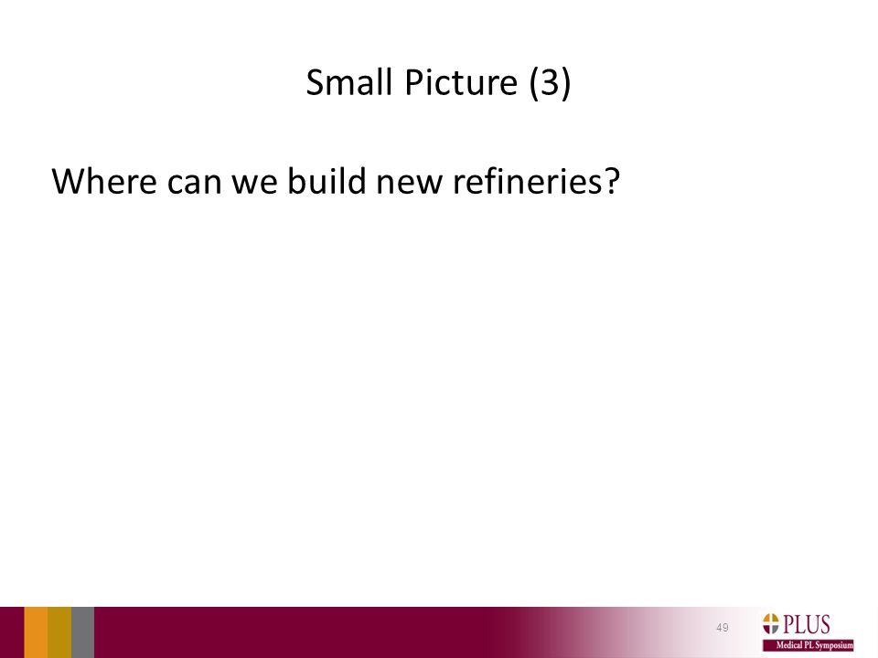 Small Picture (3) Where can we build new refineries? 49