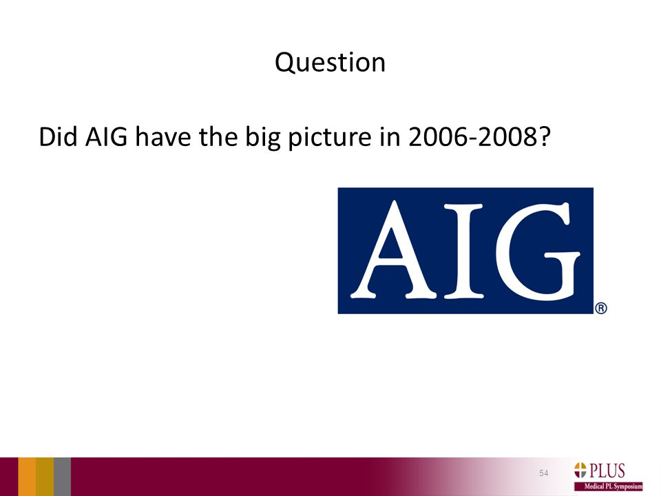 Question Did AIG have the big picture in 2006-2008? 54